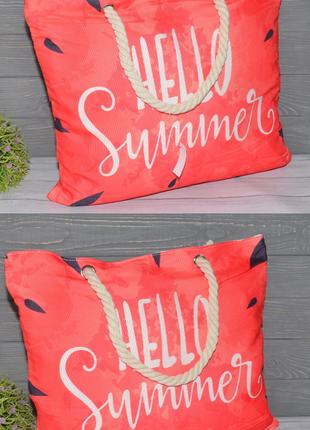 Женская тканевая пляжная сумка арбуз