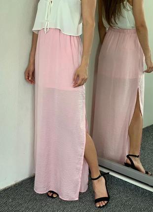 Розовая юбка в пол 34 36
