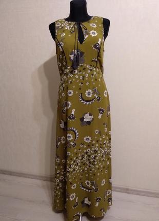 Нежное макси платье сарафан в цветах с разрезами limited edition