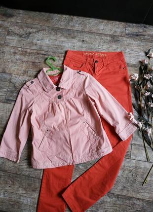 Жакет,легкая котоновая куртка от eds в полоску бежевая с красным-s-ка