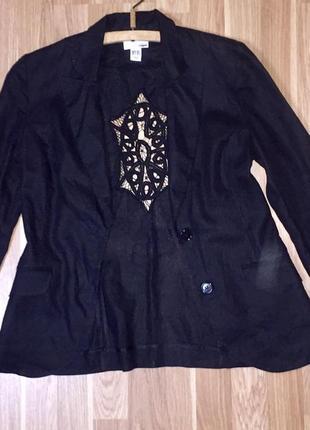 Лёгкий летний льняной пиджак жакет чёрный