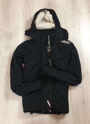 Ветровка на флисе superdry супердрай черная куртка легкая мужская
