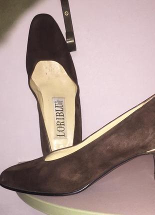 Легкие летние туфли лодочки на низком каблуке из натуральной кожи ( замши).италия2 фото