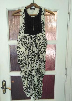 Платье twin set (шелк, хлопок) с изысканной вышывкой и оригинальным кроем