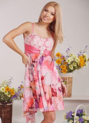 Корсетное платье lesya с кружевом+брошь с камнями! натуральные ткани!