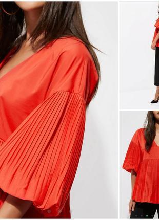 Трендовая красная блуза с объемными рукавами плиссе river island