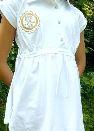 Летняя белая блузка туника футболка на девочку рост 140
