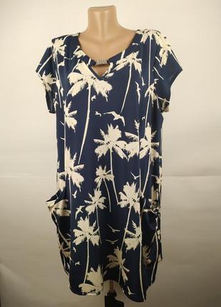 Платье эластичное стильное в пальмы с карманами wallis uk 16/44/xl