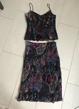 Костюм шёлковый стильный модный дорогой бренд angie размер m-l