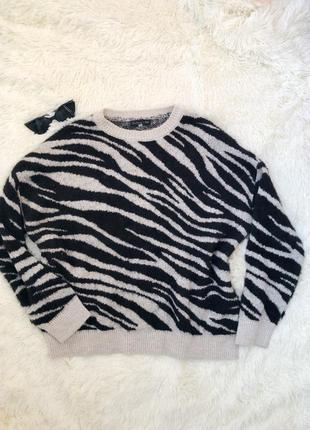 Стильный свитер принт зебра f&f knitwear