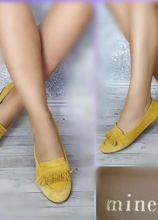 37-38р замша,кожа!новые minelli франция,желтые туфли лоферы,мокасины
