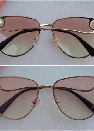 New! новые стильные очки лисички с бусинами, розовые