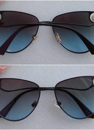 New! новые стильные очки лисички с бусинами, синие