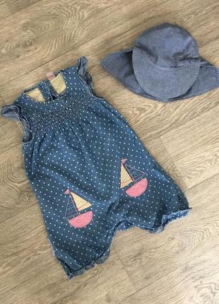 Легкий джинсовый ромпер комбинезон платье tu
