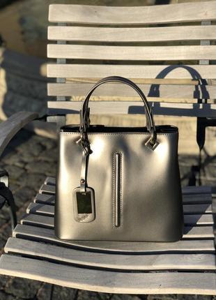 Оригинальная женская кожаная сумочка италия (металлик)