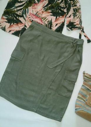 Тоненькая юбка хаки на запах лен/вискоза