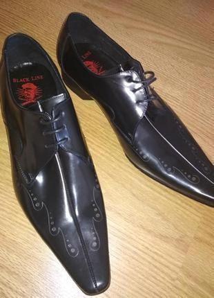 Брендовые туфли из натуральной кожи ручная работа,р.43