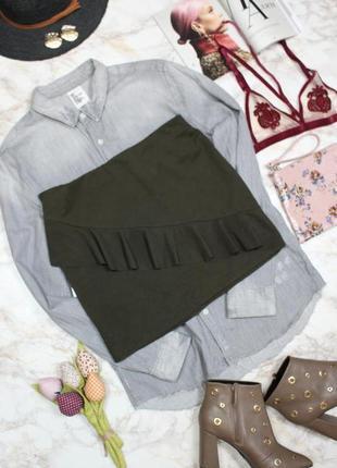Обнова! юбка мини с воланом рюшей хаки оливка в рубчик zara