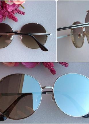 Новые стильные круглые очки зеркальные со стразами