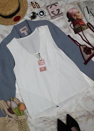 Обнова! топ комбнированный блуза белый на запах