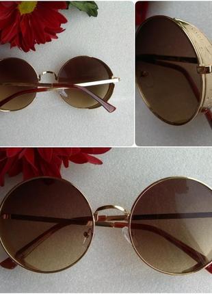 Новые стильные очки с боковой защитой, коричневые