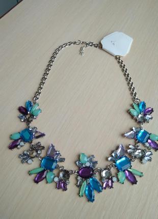 Распродажа! красивое яркое ожерелье колье подвеска с камнями кристаллами объемное