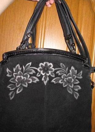 Чорна сумочка vensi еко шкіра вставки натуральноі замші