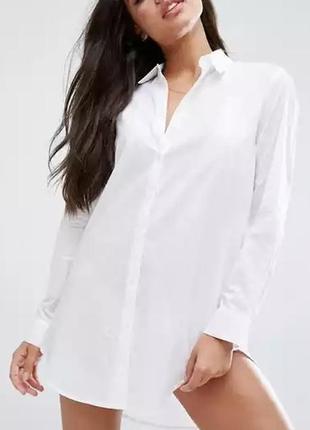 Белая белоснежная хлопковая рубашка бойфренд туника пляжная