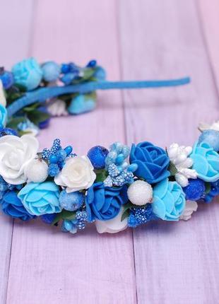 Обруч ободок бело-голубо-синий под вышиванку