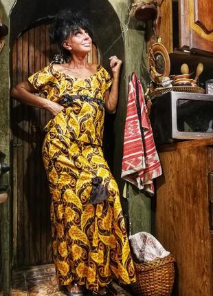 Костюм юбка блуза длинная в принт золотистая рыбка вечерний нарядный