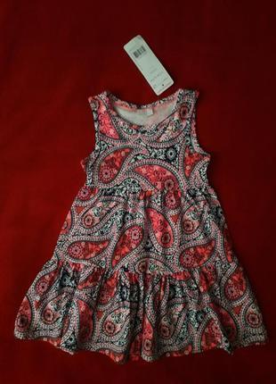 Яркое летнее платье сарафан f&f на 18-24 мес, рост 92см