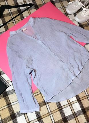 Стильная нежна голубая рубашка блуза жатка h&m. р. s-m