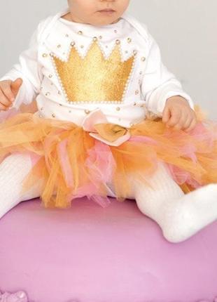 Красивый наряд праздничный на годик бодик и юбка зефирка на год 12 месяцев для девочки