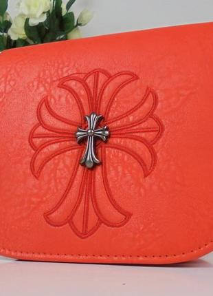 Шикарная маленькая сумочка-клатч оранжевая корал