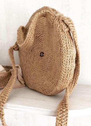 Сумка  кругла плетена вязана еко джут ручної роботи