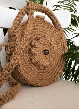 Сумка кругла  еко плетена вязана  крючком