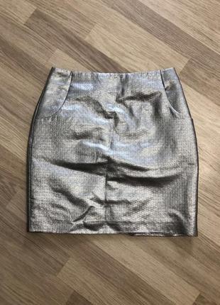 Серебристая юбка h&m, новая!
