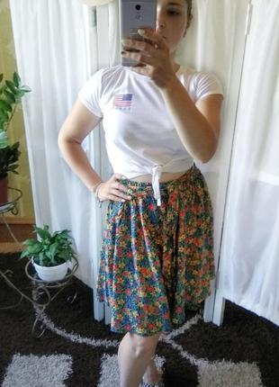 Миди юбка-шорты а цветочный принт