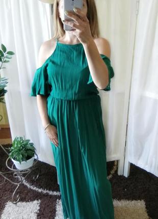 Изумрудное нереальной красоты платье в пол от pimkie