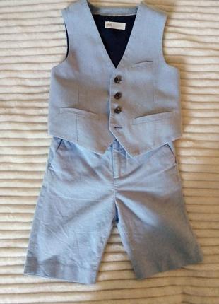 Стильний костюм двійка шорти жилетка лляний h&m
