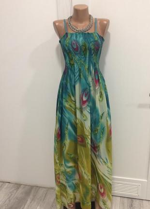 Летнее платье в пол с принтом, с шарфиком