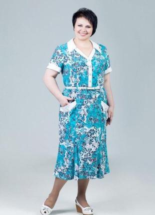 Платье полуприлегающего силуэта из натуральной ткани р.54, 56