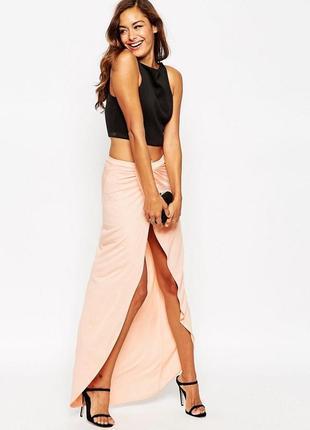 Длинная юбка макси персикового цвета asos