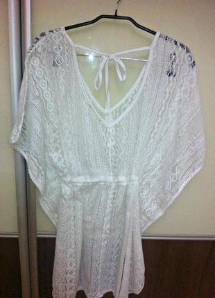 Пляжная туника, кружевное платье для пляжа и отдыха тёплого бело-бежевого цвета, оверсайз