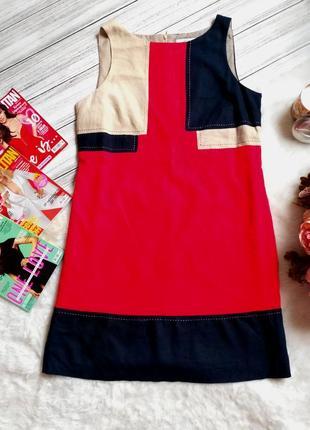 Шикарное яркое натуральное  комбинированное платье - лен размер 14 (44-46)