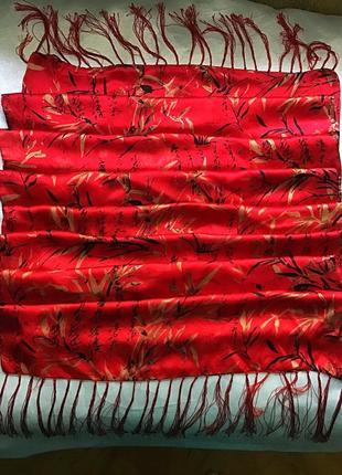 Шикарный  новый двойной шелковый красный шарф- палантин от benetton