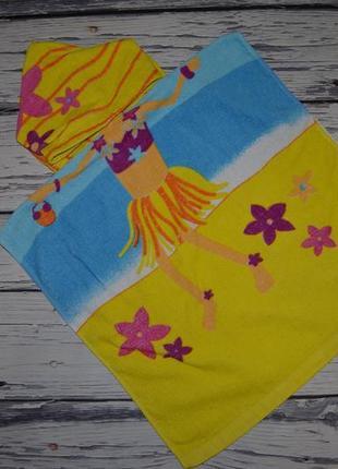 Фирменное детское полотенце с капюшоном пончо девочке махровое танцовщица