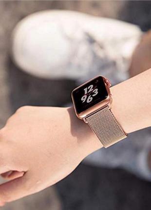 Ремешок миланская петля для часов apple watch rose gold (розовое золото)