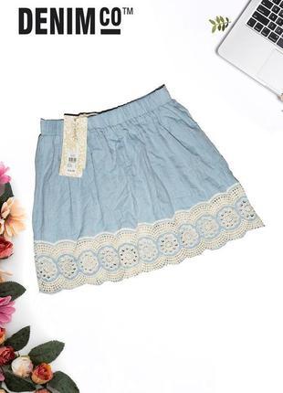 Новая льняная юбка denim co