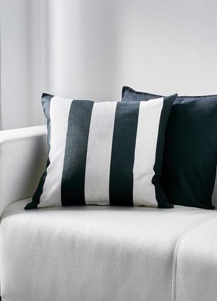 Икеа воргиллен полосатый чехол на подушку, белый / черный